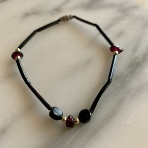Vintage Black Onyx Natiral Amethyst Bracelet